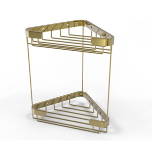 Unlacquered Brass Six-Inch Double Tier Corner Shower Basket