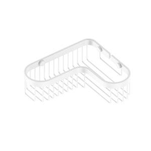 Matte White Eight-Inch Corner Toiletry Shower Basket