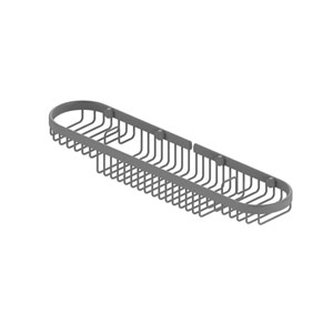 Matte Gray Four-Inch Oval Combination Shower Basket