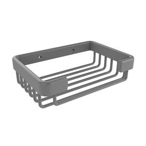Matte Gray Six-Inch Rectangular Soap Basket