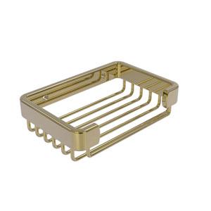 Unlacquered Brass Six-Inch Rectangular Soap Basket