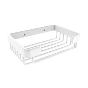 Matte White Six-Inch Rectangular Soap Basket