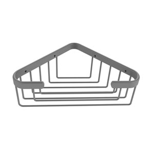 Matte Gray Six-Inch Toiletry Corner Shower Basket