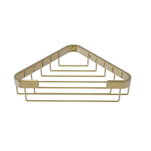 Unlacquered Brass Six-Inch Toiletry Corner Shower Basket