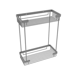 Matte Gray Five-Inch Double Tier Rectangular Toiletry Shower Basket