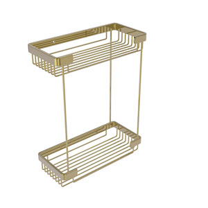 Unlacquered Brass Five-Inch Double Tier Rectangular Toiletry Shower Basket