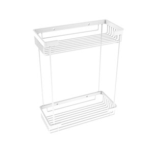 Matte White Five-Inch Double Tier Rectangular Toiletry Shower Basket