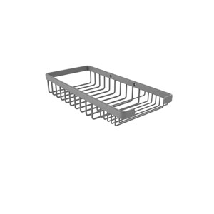Matte Gray Five-Inch Rectangular Combination Shower Basket