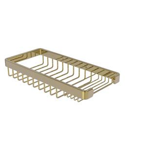 Unlacquered Brass Five-Inch Rectangular Combination Shower Basket