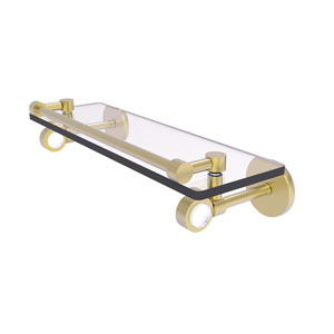 Clearview Satin Brass 16-Inch Glass Shelf with Gallery Rail