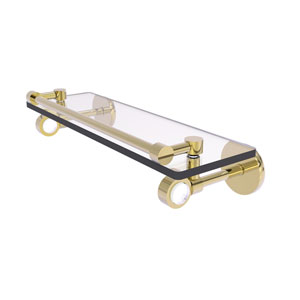 Clearview Unlacquered Brass 16-Inch Glass Shelf with Gallery Rail