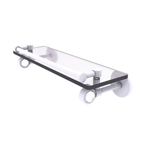 Clearview Matte White 16-Inch Glass Shelf with Gallery Rail