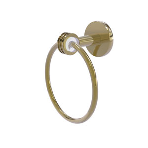 Clearview Unlacquered Brass Seven-Inch Towel Ring with Dotted Accents