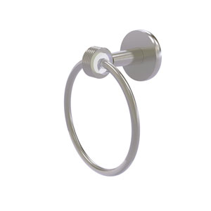 Clearview Satin Nickel Seven-Inch Towel Ring with Groovy Accents