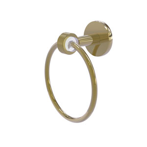 Clearview Unlacquered Brass Seven-Inch Towel Ring with Groovy Accents
