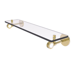 Clearview Unlacquered Brass 22-Inch Glass Shelf with Dotted Accents