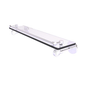 Clearview Polished Chrome 22-Inch Gallery Rail Glass Shelf with Groovy Accents