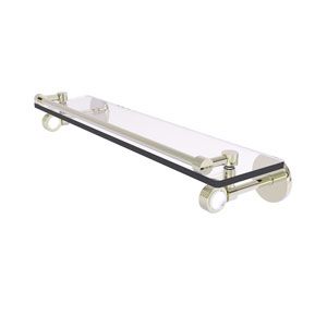 Clearview Polished Nickel 22-Inch Gallery Rail Glass Shelf with Groovy Accents