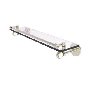 Clearview Polished Nickel 22-Inch Gallery Rail Glass Shelf with Twisted Accents