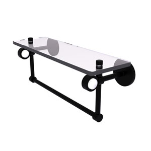 Clearview Matte Black 16-Inch Glass Shelf with Towel Bar
