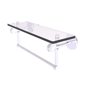 Clearview Satin Chrome 16-Inch Glass Shelf with Towel Bar