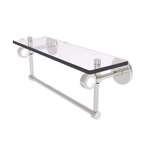 Clearview Satin Nickel 16-Inch Glass Shelf with Towel Bar