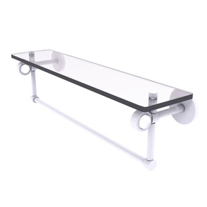 Clearview Matte White 22-Inch Glass Shelf with Towel Bar