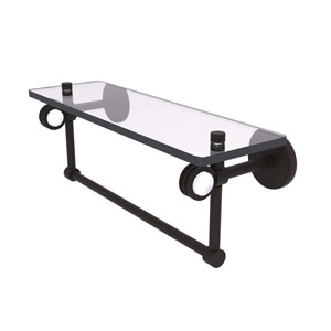 Clearview Oil Rubbed Bronze 16-Inch Glass Shelf with Towel Bar and Dotted Accents