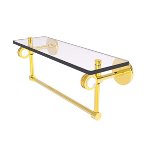 Clearview Polished Brass 16-Inch Glass Shelf with Towel Bar and Dotted Accents