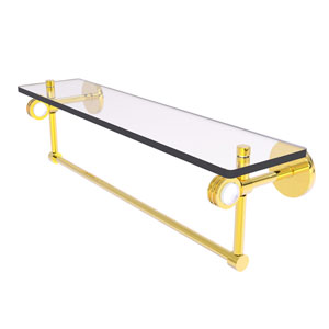 Clearview Polished Brass 22-Inch Glass Shelf with Towel Bar and Dotted Accents