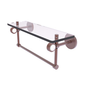 Clearview Antique Copper 16-Inch Glass Shelf with Towel Bar and Groovy Accents