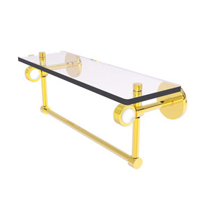 Clearview Polished Brass 16-Inch Glass Shelf with Towel Bar and Groovy Accents