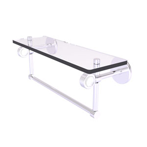 Clearview Satin Chrome 16-Inch Glass Shelf with Towel Bar and Groovy Accents