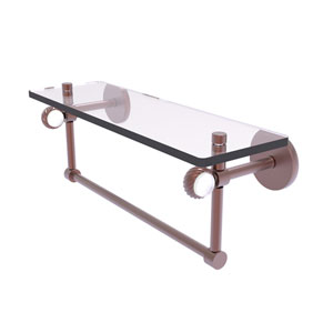 Clearview Antique Copper 16-Inch Glass Shelf with Towel Bar and Twisted Accents