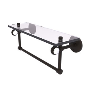 Clearview Oil Rubbed Bronze 16-Inch Glass Shelf with Towel Bar and Twisted Accents