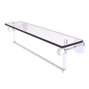Clearview Polished Chrome 22-Inch Glass Shelf with Towel Bar and Twisted Accents