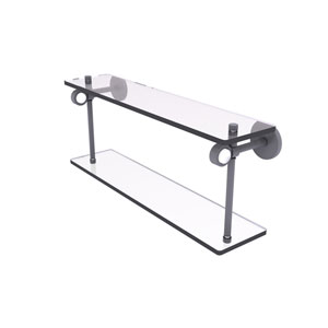 Clearview Matte Gray 16-Inch Two Tiered Glass Shelf