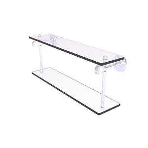 Clearview Satin Chrome 16-Inch Two Tiered Glass Shelf