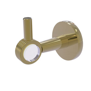 Clearview Unlacquered Brass Three-Inch Robe Hook with Groovy Accents