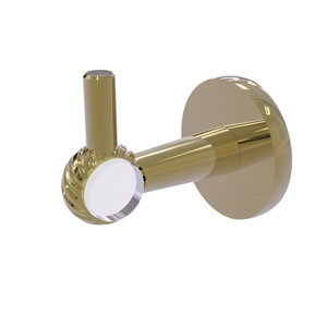 Clearview Unlacquered Brass Three-Inch Robe Hook with Twisted Accents
