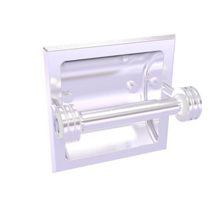 Clearview Satin Chrome Six-Inch Recessed Toilet Paper Holder with Dotted Accents