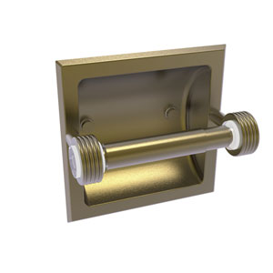Clearview Antique Brass Six-Inch Recessed Toilet Paper Holder with Groovy Accents