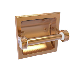 Clearview Brushed Bronze Six-Inch Recessed Toilet Paper Holder with Groovy Accents