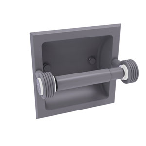 Clearview Matte Gray Six-Inch Recessed Toilet Paper Holder with Groovy Accents