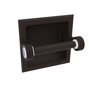 Clearview Oil Rubbed Bronze Six-Inch Recessed Toilet Paper Holder with Groovy Accents