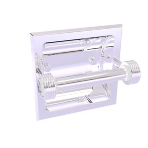 Clearview Polished Chrome Six-Inch Recessed Toilet Paper Holder with Groovy Accents