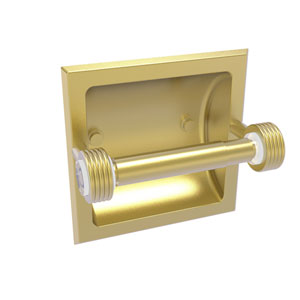 Clearview Satin Brass Six-Inch Recessed Toilet Paper Holder with Groovy Accents