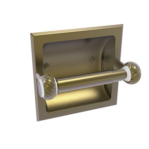 Clearview Antique Brass Six-Inch Recessed Toilet Paper Holder with Twisted Accents