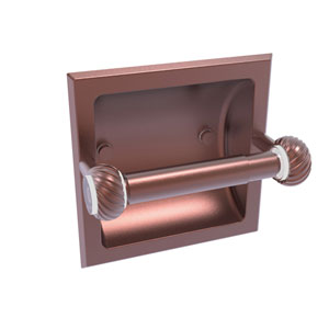 Clearview Antique Copper Six-Inch Recessed Toilet Paper Holder with Twisted Accents