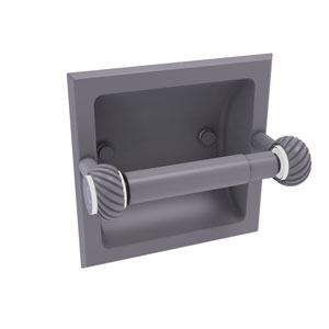 Clearview Matte Gray Six-Inch Recessed Toilet Paper Holder with Twisted Accents